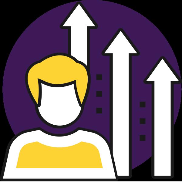 Icon Person mit nach oben zeigenden Pfeilen